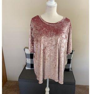 NWT JCP Boutique Plus Pink Velvet Top Size 3X